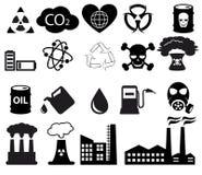 Ícones da poluição ajustados Fotografia de Stock Royalty Free