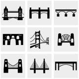Ícones da ponte ajustados no cinza Fotos de Stock