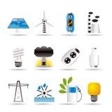 Ícones da potência, da energia e da eletricidade Fotos de Stock Royalty Free