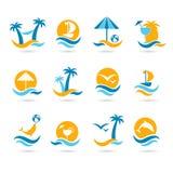 Ícones da praia Foto de Stock Royalty Free