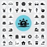 Ícones da praia ajustados Fotografia de Stock Royalty Free