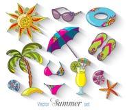 Ícones da praia do beira-mar das férias de verão ajustados Fotos de Stock Royalty Free