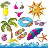 Ícones da praia do beira-mar das férias de verão ajustados Fotografia de Stock Royalty Free