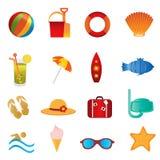 Ícones da praia e do verão no branco ilustração stock