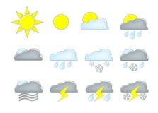 Ícones da previsão de tempo Fotos de Stock