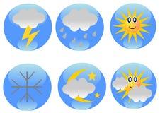 Ícones da previsão de tempo imagens de stock