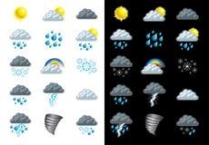 Ícones da previsão de tempo Foto de Stock Royalty Free