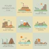 Ícones da produção de eletricidade Imagens de Stock