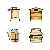 Ícones da produção do mel - colmeia, fumador, extrator ilustração stock
