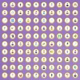100 ícones da profissão ajustados no estilo dos desenhos animados Fotografia de Stock