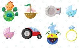 Ícones da propriedade, empréstimo, depositando Imagem de Stock