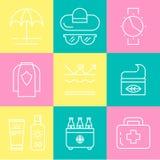 Ícones da proteção de pele do verão Fotos de Stock