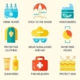 Ícones da proteção de pele do verão Foto de Stock