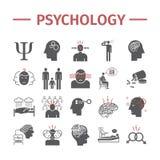 Ícones da psicologia ajustados Saúde mental r Sinais do vetor para gráficos da Web Imagens de Stock