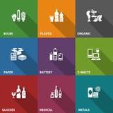 Ícones da reciclagem de resíduos do lixo na cor Fotos de Stock Royalty Free