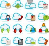Ícones da rede da nuvem ajustados Fotos de Stock Royalty Free