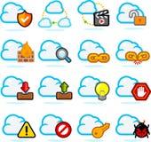 Ícones da rede da nuvem ajustados Fotografia de Stock Royalty Free