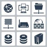 Ícones da rede informática de vetor ajustados Imagens de Stock Royalty Free