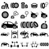 Ícones da reparação de automóveis Fotografia de Stock Royalty Free