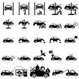 Ícones da reparação de automóveis Fotos de Stock Royalty Free