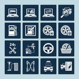 Ícones da reparação de automóveis ilustração royalty free
