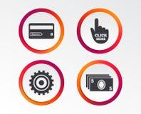 Ícones da retirada da máquina de dinheiro do ATM Fotografia de Stock