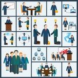 Ícones da reunião ajustados ilustração do vetor