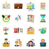 Ícones da reunião lisos Fotos de Stock Royalty Free