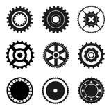Ícones da roda denteada e dos rolamentos imagens de stock