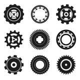 Ícones da roda denteada e dos rolamentos ilustração stock