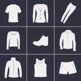 Ícones da roupa Fotografia de Stock