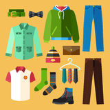 Ícones da roupa ajustados Fotos de Stock