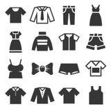 Ícones da roupa ajustados no fundo branco Vetor Fotografia de Stock Royalty Free