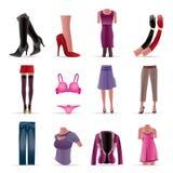 Ícones da roupa da mulher e da fêmea Fotografia de Stock Royalty Free