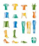 Ícones da roupa da mulher e da fêmea Imagem de Stock Royalty Free
