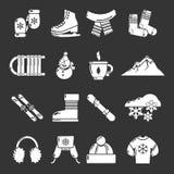 Ícones da roupa do inverno ajustados cinzentos ilustração stock