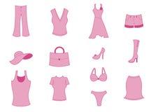 Ícones da roupa e dos acessórios Imagem de Stock