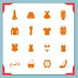 Ícones da roupa. Mulheres | Em uma série do frame Fotos de Stock