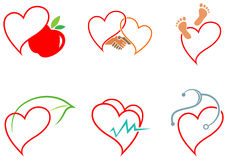 Ícones da saúde do coração Fotografia de Stock Royalty Free