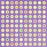 100 ícones da saúde e da beleza ajustaram-se no estilo dos desenhos animados Imagem de Stock Royalty Free