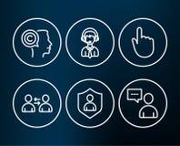 Ícones da segurança, da comunicação e do escritor O apoio, o clique da mão e os usuários de envio conversam sinais Imagens de Stock