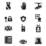 Ícones da segurança da silhueta ajustados Fotografia de Stock Royalty Free