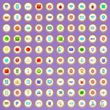 100 ícones da segurança do cyber ajustados no estilo dos desenhos animados Imagem de Stock