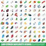 100 ícones da segurança do cyber ajustaram-se, o estilo 3d isométrico Fotos de Stock Royalty Free
