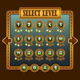 Ícones da seleção do nível do steampunk do jogo Fotografia de Stock