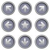 Ícones da seta direcional em teclas modernas do vetor Imagens de Stock