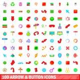 100 ícones da seta e do botão ajustaram-se, estilo dos desenhos animados Imagem de Stock