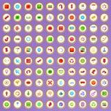 100 ícones da seta e do botão ajustaram-se no estilo dos desenhos animados Imagem de Stock