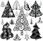 Ícones da silhueta da árvore de Natal ajustados imagem de stock