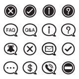 Ícones da silhueta da bolha do discurso, ilustração do vetor da mensagem do BATE-PAPO Imagens de Stock